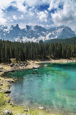 Northern Italy Photograph - South Tyrol Beautiful Karersee Lake by Melanie Viola