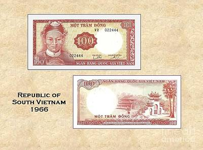Currency Mixed Media - South Vietnamese 100 Dong by Charles Robinson