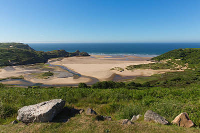 The Gower Photograph - South Wales Coast The Gower Coast Three Cliffs Bay Wales Uk  by Michael Charles