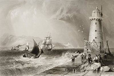 Lighthouse Drawing - South-wall Lighthouse With Howth Hill by Vintage Design Pics