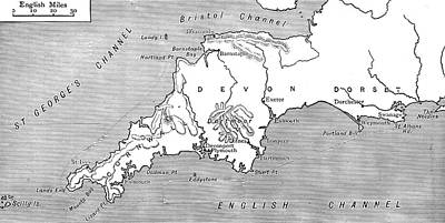 Music Map Drawing - South West England Map. by Unknown