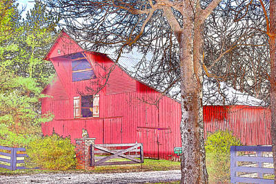 Southall Road Red Barn Color Sketch Art Print