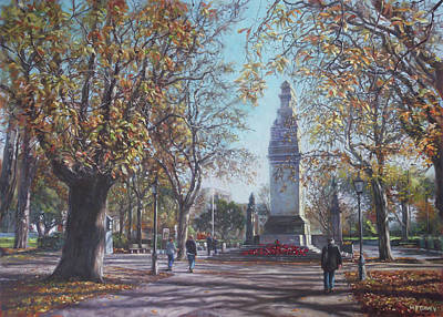 Painting - Southampton Cenotaph Autumn by Martin Davey