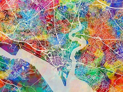 Abstracted Digital Art - Southampton England City Map by Michael Tompsett