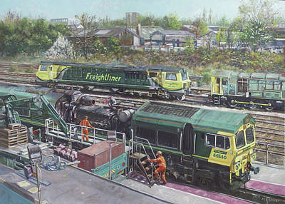 Painting - Southampton Freightliner Train Maintenance by Martin Davey