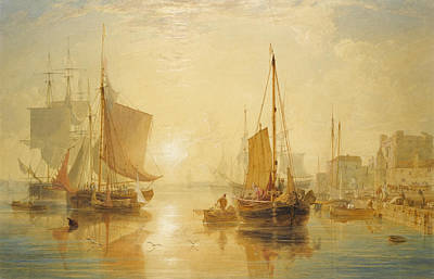 Drawing - Southampton. Sunset by Anthony Vandyke Copley Fielding