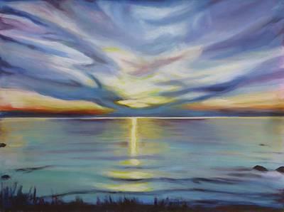Thomas Kinkade Rights Managed Images - Southampton Sunset Royalty-Free Image by Sheila Diemert