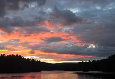 Quabbin Reservoir Photograph - Southbound Geese At Sunset by John Burk