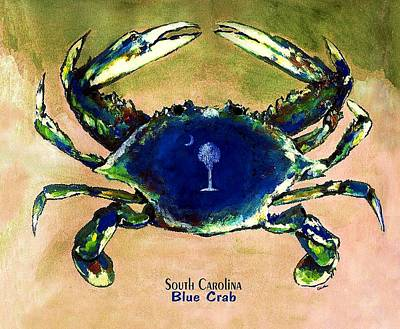 Southcarolina Blue Crab Art Print by Eddie Glass