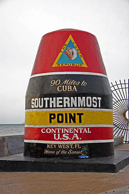 Photograph - Southermost Point Of U.s.a. Buoy Marker by John Stephens