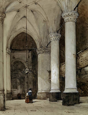 Southern Aisle Grote Of St. James In The Hague Art Print by Johannes Bosboom
