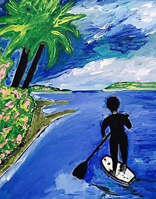 Painting - Southern California Paddle Boarding by Jonathon Hansen