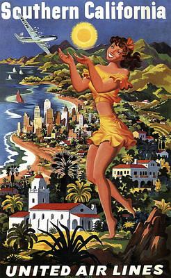 Southern California Vintage Travel 1950's Art Print by Daniel Hagerman