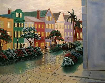 Rainbow Row Painting - Southern Charm  by Michael Lee