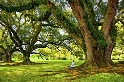 Oak Alley Plantation Photograph - Southern Dreamer - Paint by Steve Harrington