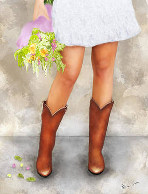 Painting - Southern Flower Girl In Her Fancy Boots by Sannel Larson