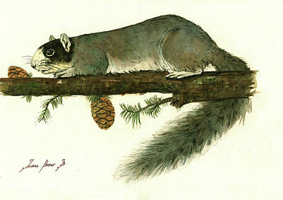 Fox Squirrel Painting - Southern Fox Squirrel  by Juan Bosco