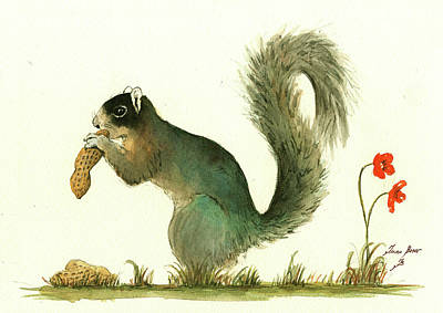Fox Squirrel Painting - Southern Fox Squirrel Peanut by Juan Bosco
