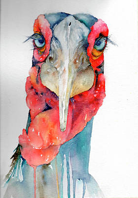 Hornbill Painting - Southern Hornbill by Maureen Moore