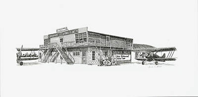 Airways Drawing - Southern Ill Airways by Shawn Vincelette