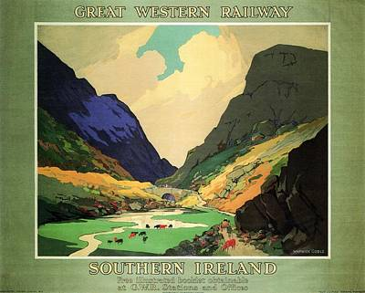Royalty-Free and Rights-Managed Images - Southern Ireland - Landscape Painting - Great Western Railway - Vintage Advertising Poster by Studio Grafiikka