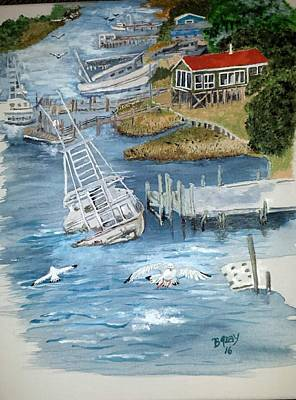 Shrimpboats Wall Art - Painting - Southern Lady Shrimper  by Bill Gray