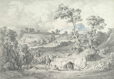 Drawing - Southern Landscape With A Man And A Snake by Heinrich Dreber