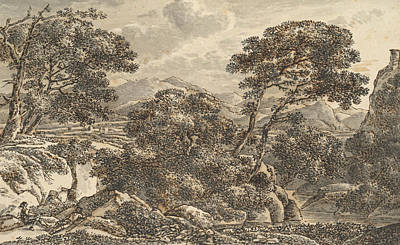 Landscape Drawing - Southern Landscape With Resting Wayfarers At A River by Ferdinand Kobell
