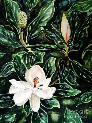 Southern Magnolia Bud And Bloom Art Print by Patricia L Davidson