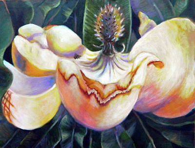 Painting - Southern Magnolia With A Bee by Elaine Hines