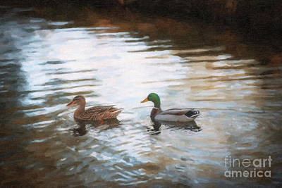 Digital Art - Southern Mallard Ducks by Dale Powell