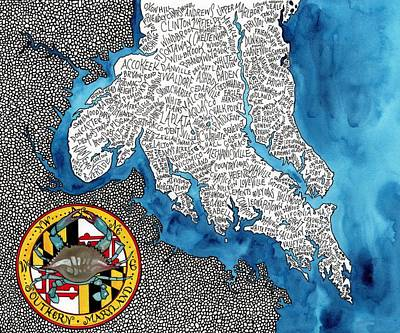 Southern Maryland Word Map Original by Terri Kelleher