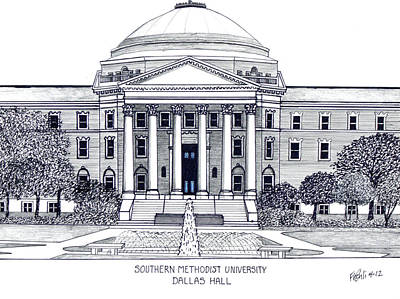 Drawing - Southern Methodist University by Frederic Kohli