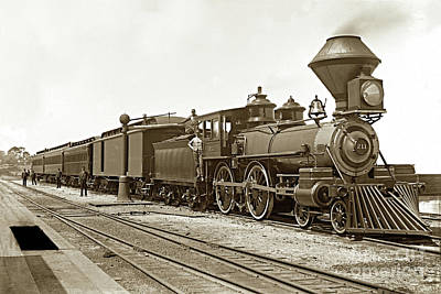 Photograph - Southern Pacific 4-4-0 No. 211 Built By Schenectady Locomotive Works 1888 by California Views Mr Pat Hathaway Archives