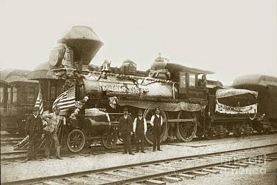 Photograph - Southern Pacific. R/r Locomotive /engine # 225 At Pacific Grove Circa 1888 by California Views Mr Pat Hathaway Archives