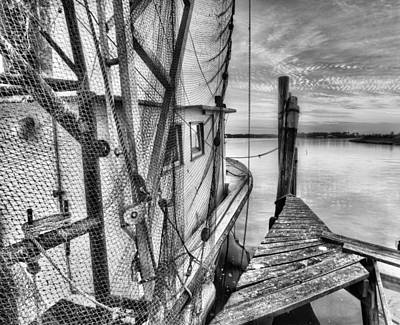 Photograph - Southern Shrimper Black And White by JC Findley