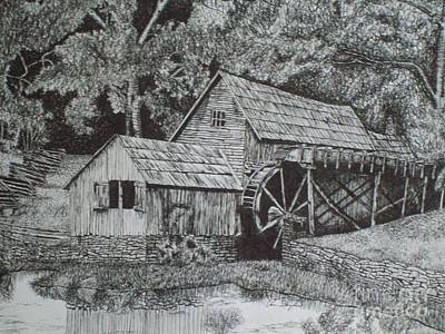 Pen And Ink Old Mill Drawing Drawing - Southern Watermill by Chris Shepherd