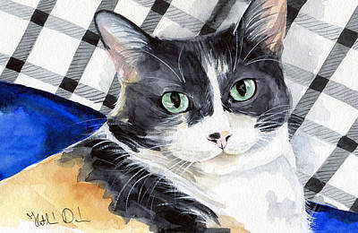 Painting - Southpaw - Calico Cat Portrait by Dora Hathazi Mendes