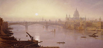 English Scene Painting - Southwark Bridge And St. Paul's Cathedral From London Bridge  Evening by George Fennel Robson