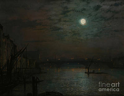 Moonlit Painting - Southwark Bridge By Moonlight by John Atkinson Grimshaw