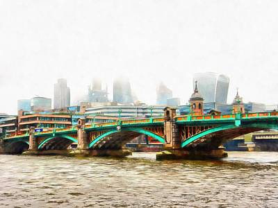 Photograph - Southwark Bridge Misty Cityscape by Dorothy Berry-Lound