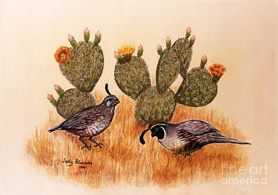 Painting - Southwest Art Gambels Quail by Judy Filarecki