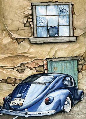 Adobe House Painting - Southwest Blue Beetle by James Stanley