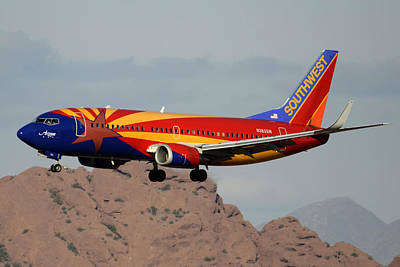 Southwest Boeing 737-3h4 N383sw Arizona Phoenix Sky Harbor December 20 2015  Art Print by Brian Lockett
