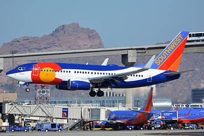 Southwest Boeing 737-7h4 N230wn Colorado One Phoenix Sky Harbor January 24 2016 Art Print by Brian Lockett