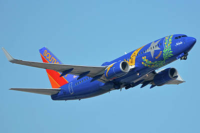 Photograph - Southwest Boeing 737-7h4 N727sw Nevada One Phoenix Sky Harbor October 14 2017 by Brian Lockett