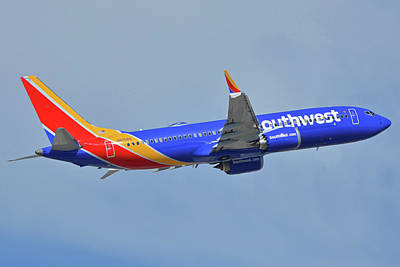 Photograph - Southwest Boeing 737-8 Max N8708q Phoenix Sky Harbor October 10 2017 by Brian Lockett