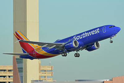 Photograph - Southwest Boeing 737-8 Max N8709q Phoenix Sky Harbor October 2 2017 by Brian Lockett