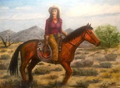 Painting - Southwest Cowgirl by Larry Lamb