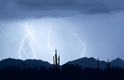 Southwest Desert Lightning Blues Art Print by James BO  Insogna